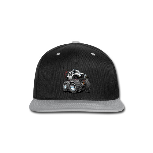 Off road 4x4 white jeeper cartoon - Snap-back Baseball Cap