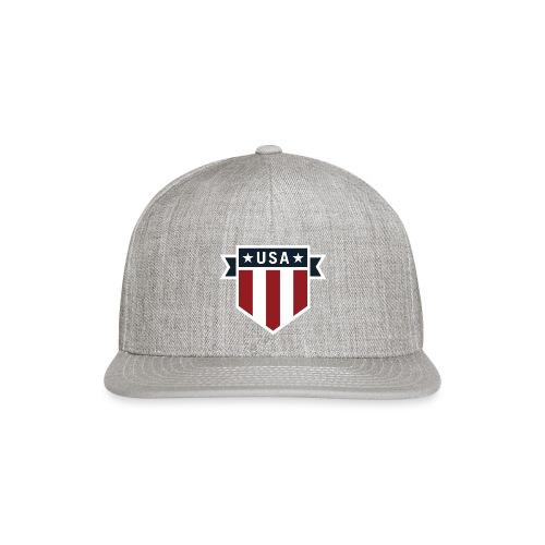 USA Pride Red White and Blue Patriotic Shield - Snap-back Baseball Cap