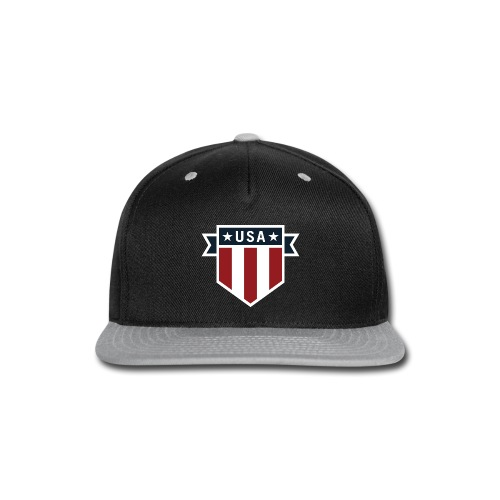 USA Pride Red White and Blue Patriotic Shield - Snap-back Baseball Cap