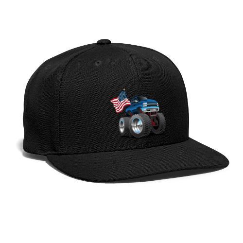 Monster Pickup Truck with USA Flag Cartoon - Snap-back Baseball Cap