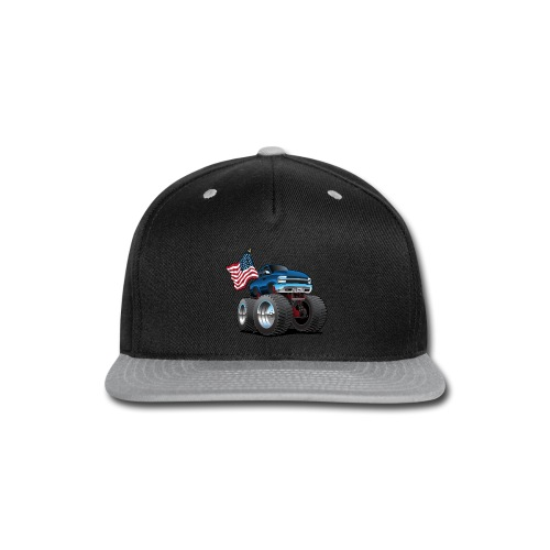 Monster Pickup Truck with USA Flag Cartoon - Snap-back Baseball Cap