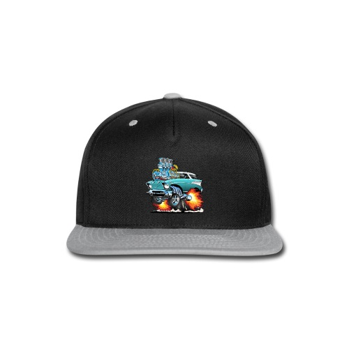 Classic Fifties Hot Rod Muscle Car Cartoon - Snap-back Baseball Cap