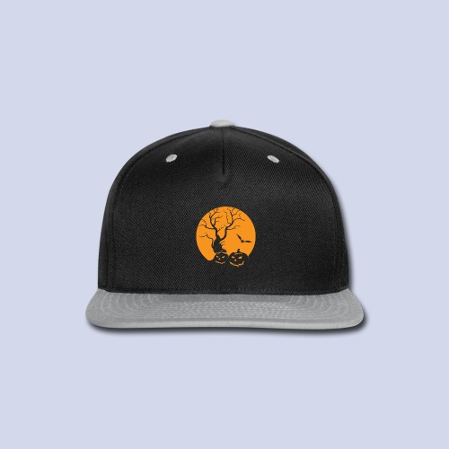 Jack O Lantern Silhouetted Aganist the Moon - Snap-back Baseball Cap
