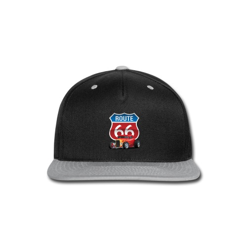 Route 66 Sign with Classic American Red Hotrod - Snap-back Baseball Cap