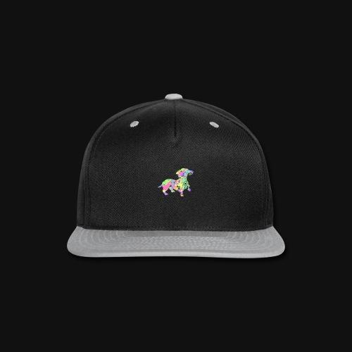 dachshund silhouette splatter - Snap-back Baseball Cap