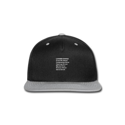 Street Names White Text - Snap-back Baseball Cap