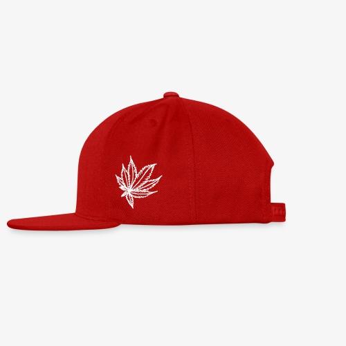 white leaf w/myceliaX.com logo - Snap-back Baseball Cap