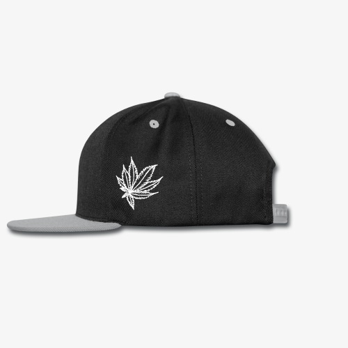 white leaf w/myceliaX.com logo - Snap-back Baseball Cap