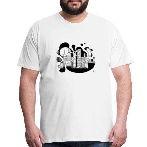 Cityscape Ink Splash by Jack L Barton - Men's Premium T-Shirt