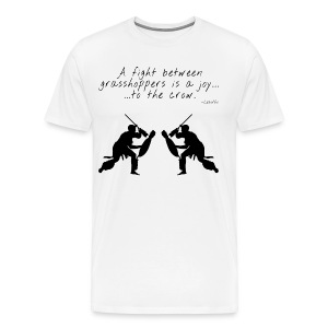 AFRICAN PROVERB TEE: A Fight Between Grasshoppers - Men's Premium T-Shirt