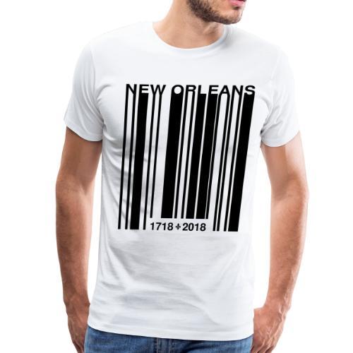New Orleans Tricentennial Barcode Fleur de Lis (B) - Men's Premium T-Shirt