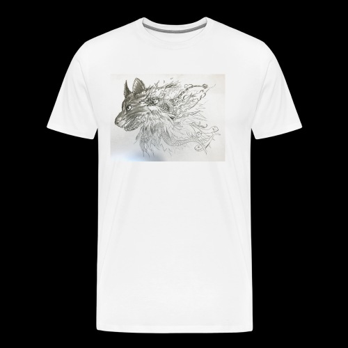 Black and White Wolf - Men's Premium T-Shirt