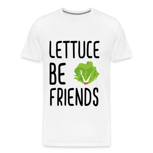 Lettuce Be Friends #lettuce #illustration #veggie - Men's Premium T-Shirt
