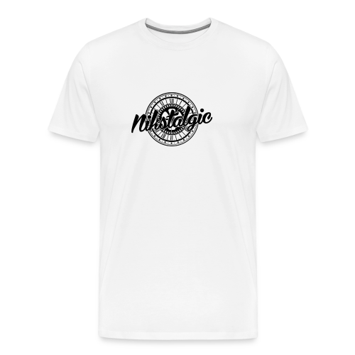 Nikstalgic - Logo with Clock - Black - Men's Premium T-Shirt