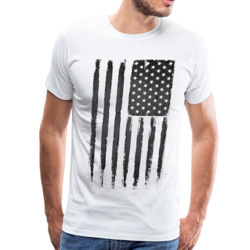 Black Grunge American flag - Men's Premium T-Shirt