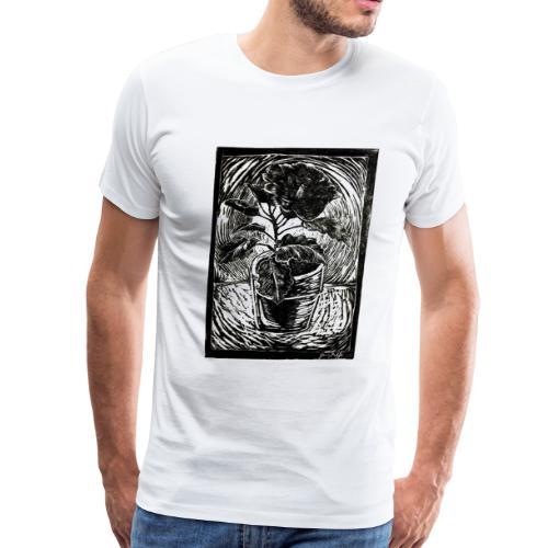 Hibiscus, 2017 linocut print by Jana Griffis - Men's Premium T-Shirt