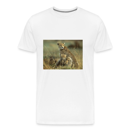 cheetah mother and cubs - Men's Premium T-Shirt