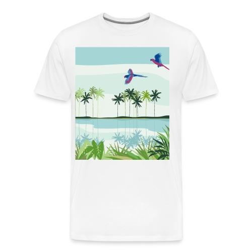 Natural Summer Urban Exotic Parrot Jungle - Men's Premium T-Shirt