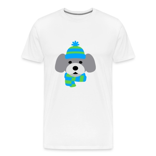 Cute Dog in Winter hat blue and green strips - Men's Premium T-Shirt