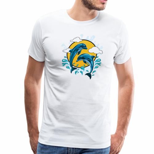 Dolphins jumping with sun - Men's Premium T-Shirt
