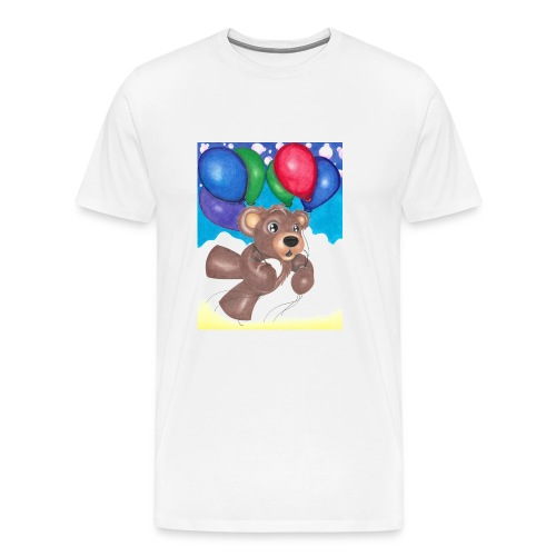 Bear floating with balloons; - Men's Premium T-Shirt