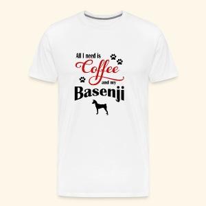 Basenji and my need of Coffee - Men's Premium T-Shirt