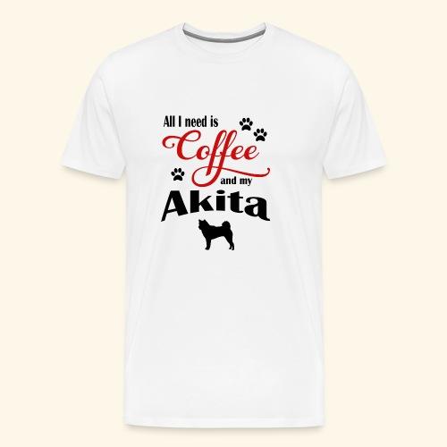 Akita and my need of Coffee - Men's Premium T-Shirt