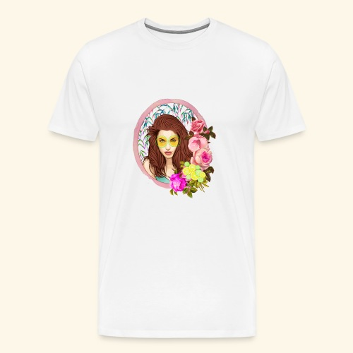 frame digital flower roses ribbon girl - Men's Premium T-Shirt