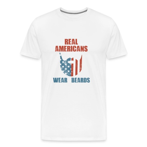 Real Americans Wear Beards Patriotic Flag Graphic - Men's Premium T-Shirt