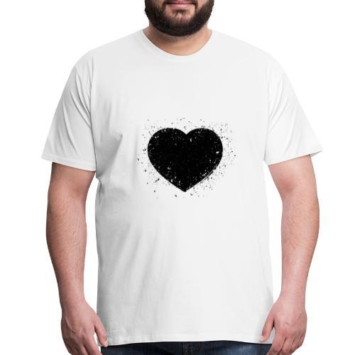 Black Grunge Heart - Men's Premium T-Shirt