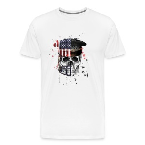 American Flag Military Cap Skull collection - Men's Premium T-Shirt