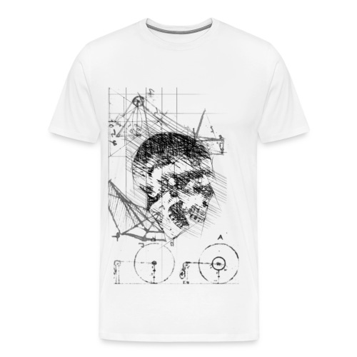 Skull Da Vinci Sketch Style - Men's Premium T-Shirt