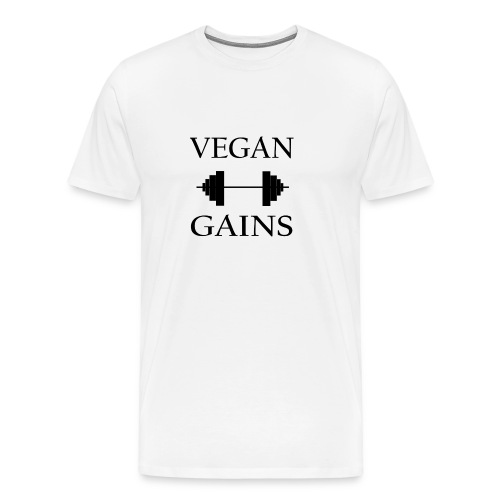 Vegan Gains in black font - Men's Premium T-Shirt