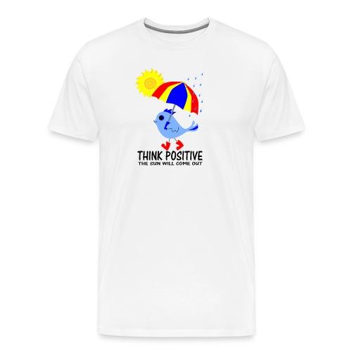 Blue Bird Think Positive Image - Men's Premium T-Shirt