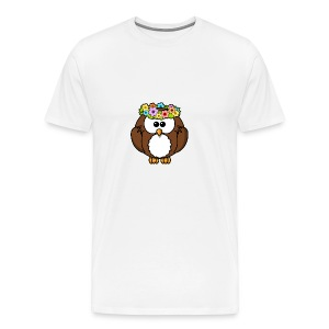 Owl With Flowers On Head T-Shirt - Men's Premium T-Shirt