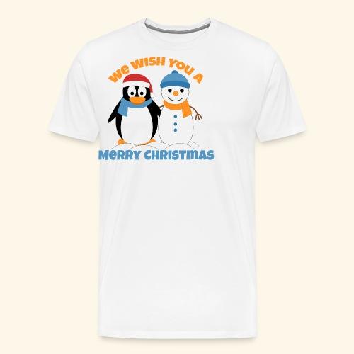 santa penguin with snowman christmas - Men's Premium T-Shirt