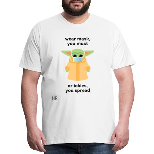 Baby Yoda (The Child) says Wear Mask - Men's Premium T-Shirt