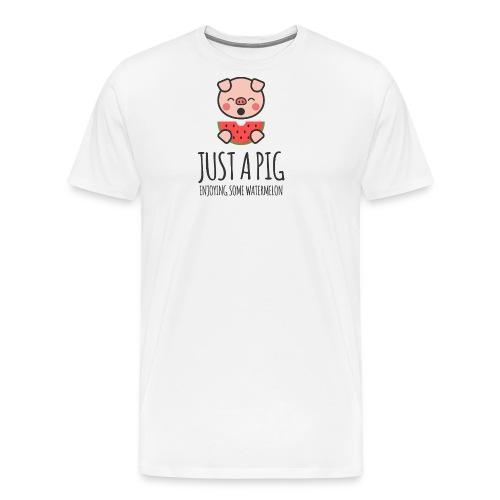 Just A Pig Enjoying Some Watermelon - Men's Premium T-Shirt