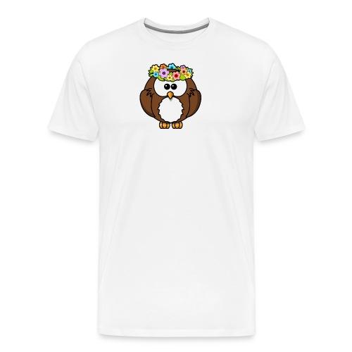 Owl With Flowers On Head T-Shirt - Men's Premium T-Shirt