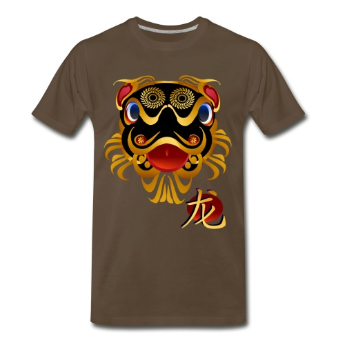 Black n Gold Chinese Dragon 's Face and Symbol - Men's Premium T-Shirt