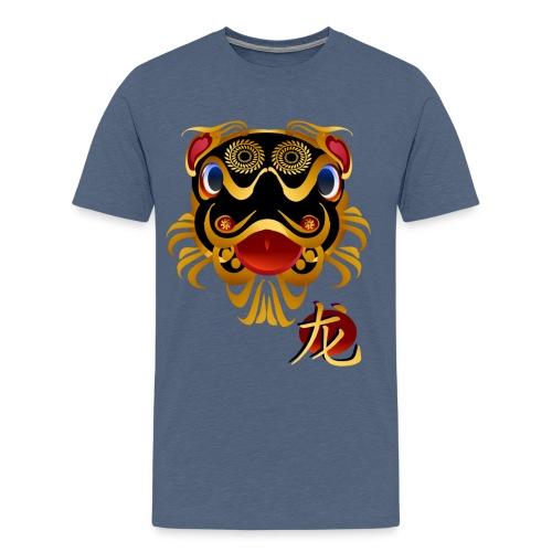 Black n Gold Chinese Dragon 's Face and Symbol - Men's Premium T-Shirt