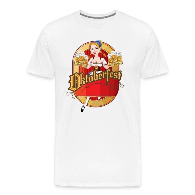 Oktoberfest Cartoon Pin up Blond German Beer Gir | Men's Premium T Shirt