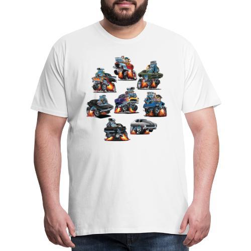 Car Crazy Classic Hot Rod Muscle Car Cartoons - Men's Premium T-Shirt