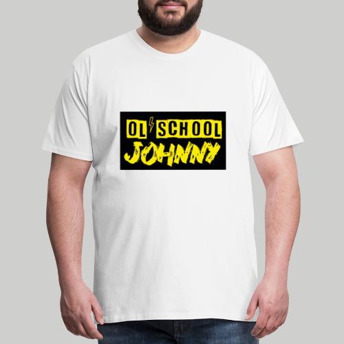 Ol' School Johnny Yellow Text on Black Square - Men's Premium T-Shirt