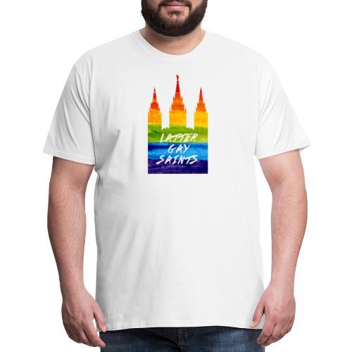 Mormon Temple in gay pride Latter gay saints - Men's Premium T-Shirt