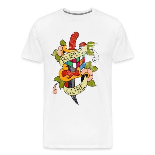 Rubik's Cube Colorful Tattoo Distressed - Men's Premium T-Shirt