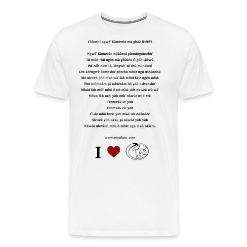 Hymne National Cameroun Langue Nufi (black text) - Men's Premium T-Shirt