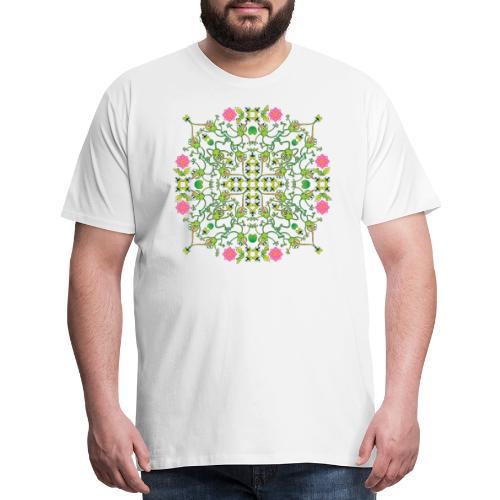 Funny green frogs hunting flies mandala design - Men's Premium T-Shirt