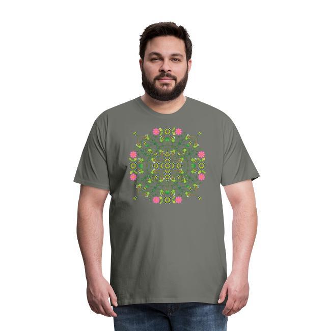Funny green frogs hunting flies mandala design