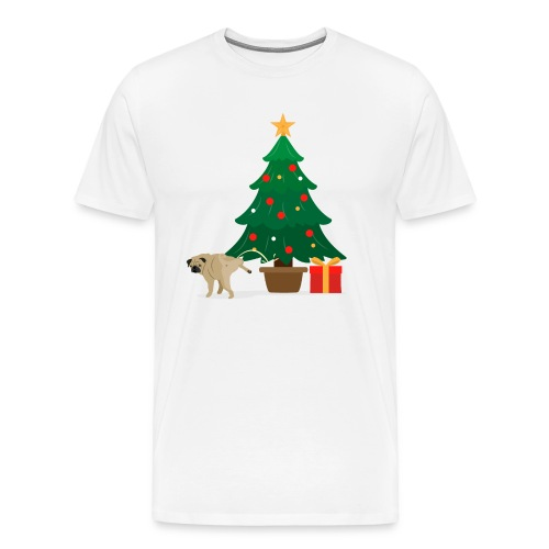 Pug and Gift under the Christmas Tree - Men's Premium T-Shirt